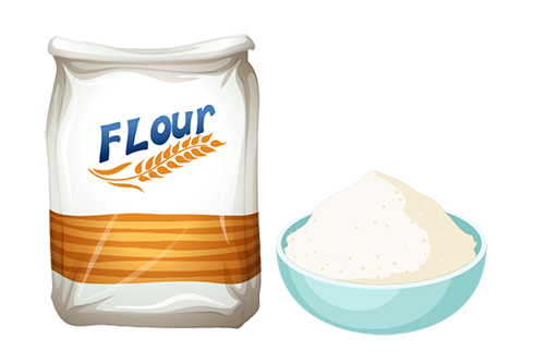 bag of flour and raw batter in bowl