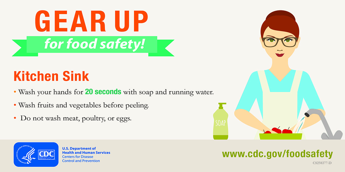 Kitchen Sink: Wash your hands for 20 seconds with soap and running water. Wash fruits and vegetables before peeling.Do not wash meat, poultry, or eggs.