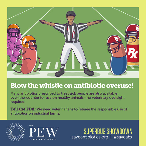 PEW SuperBug Showdown infographic: Blow the whistle on antibiotic overuse!