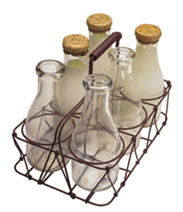 Image of old-fashioned bottles of milk