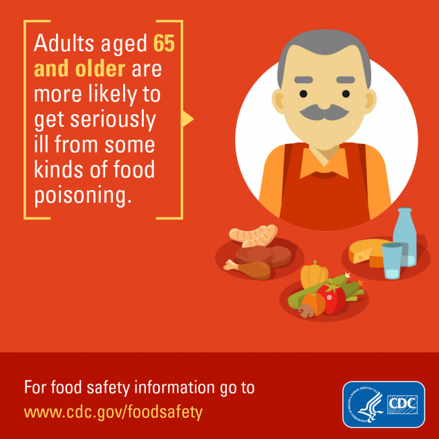 Facebook sized image for download about how adults aged 65 and older are more likely to get seriously ill from some kind of food poisoning.