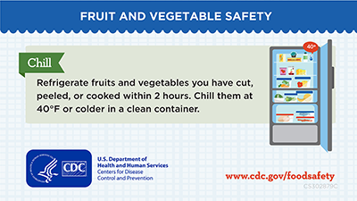 Chill cut, peeled, and cooked veggies and fruits after 2 hours in fridge below 40 degrees. Download social media graphics for facebook and twitter.