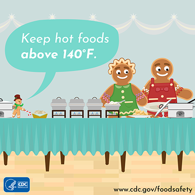 Holiday food safety twitter chat image message keep hot foods hot