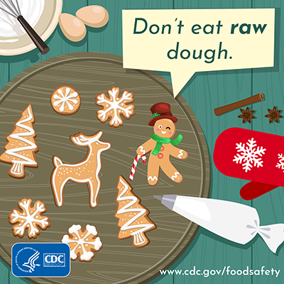 Holiday food safety twitter chat image message dont eat raw dough