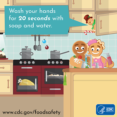 Holiday food safety twitter chat image message wash your hands