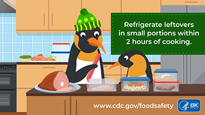 Food safety refrigerate leftovers in small portion within 2 hours of cooking download for social media