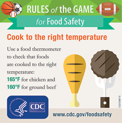 cook to the right temperature use a food thermometer to check that chicken is 165 degrees and ground beef is 160 degrees