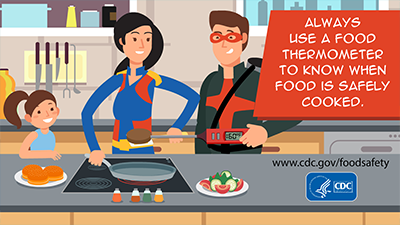 Cook: Always use a food thermometer to know when food is safely cooked. Download this social media image.