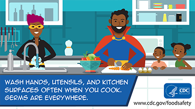 Clean: Wash hands, utensils, and kitchen surfaces often when you cook. Germs are everywhere. Download this social media image.
