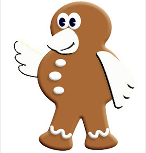 Gingerbread character smiling