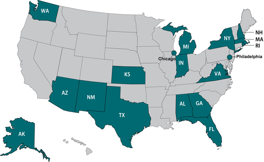 Map of United States highlighting OutbreakNet Enhanced sites: Alabama, Alaska, Arizona, Chicago, Florida, Georgia, Indiana, Kansas, Massachusetts, Michigan, New Hampshire, New Mexico, New York, Philadelphia, Rhode Island, Texas, Virginia, and Washington.