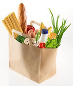 Photo of a bag of groceries.