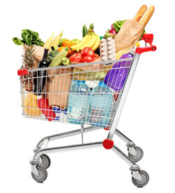 Image of a shopping cart full of food.