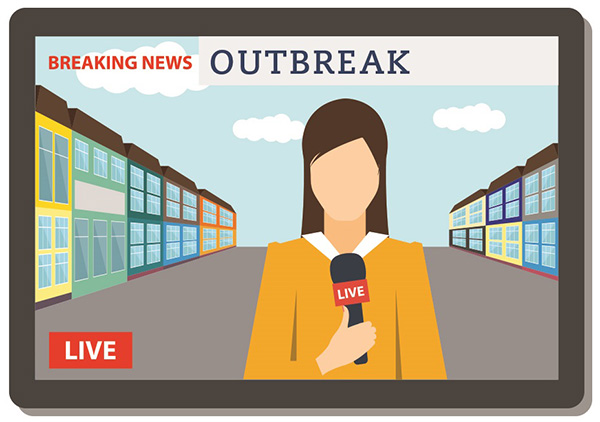 Illustration of a news reporter on TV talking about an outbreak.