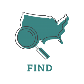 Illustration showing the United States and a magnifying glass representing finding more cases.
