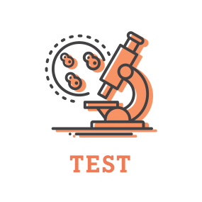 Illustration representing testing by showing a microscope.