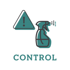 Illustration representing ways to control an outbreak. This one has a spray bottle spraying disinfectant.