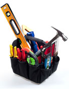 Image of a tool bag with various tools.