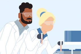 Graphic of Two woman and a man doing lab work