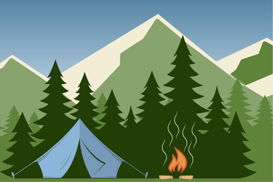 Image of campsite with fire