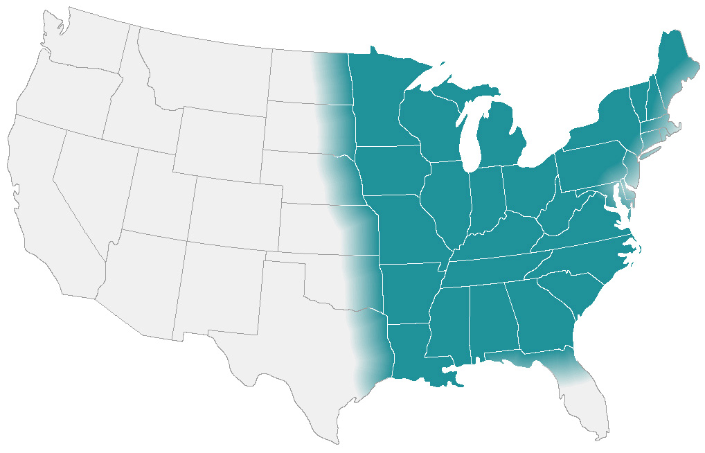 "map shows the approximate areas (called ""endemic areas"") where Blastomyces is suspected to live in the United States."