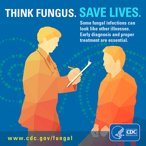 Image showing button on Think Fungus. Save Lives.