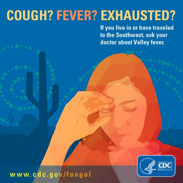 Button for download to facebook or instagram on asking doctor about Valley Fever if you have cough fever or exhausted and live in the Southwest