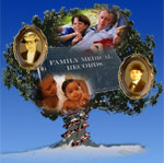 image of tree with people, family records, and a dna strand