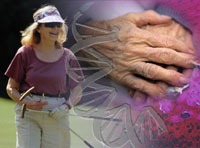 middle age woman golfing, dna strand, older hands crossed, blood detail