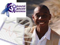 man, graph and dna and Colorectal Cancer Awareness logo