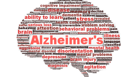 a word cloud on Alzheimer in the shape of a brain