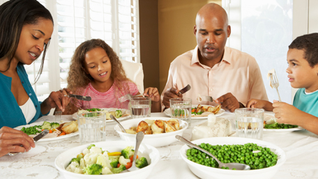 a family eating a healthy meal