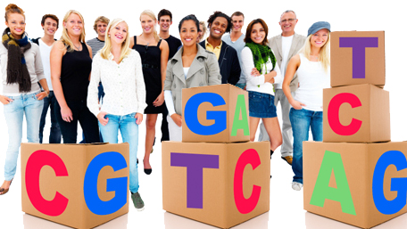 a crowd of people behind stacked boxes of ATCG