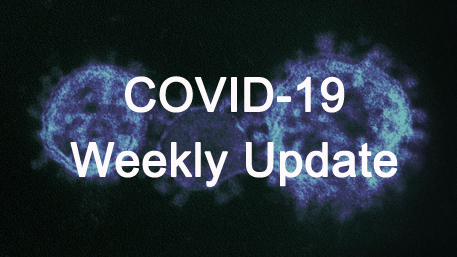 COVID-19 Weekly Update with an image of the corona virus