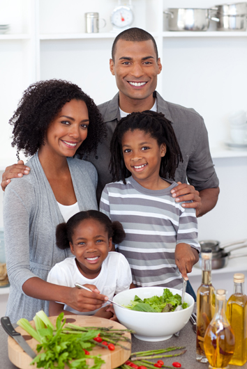 a family with a healthy meal