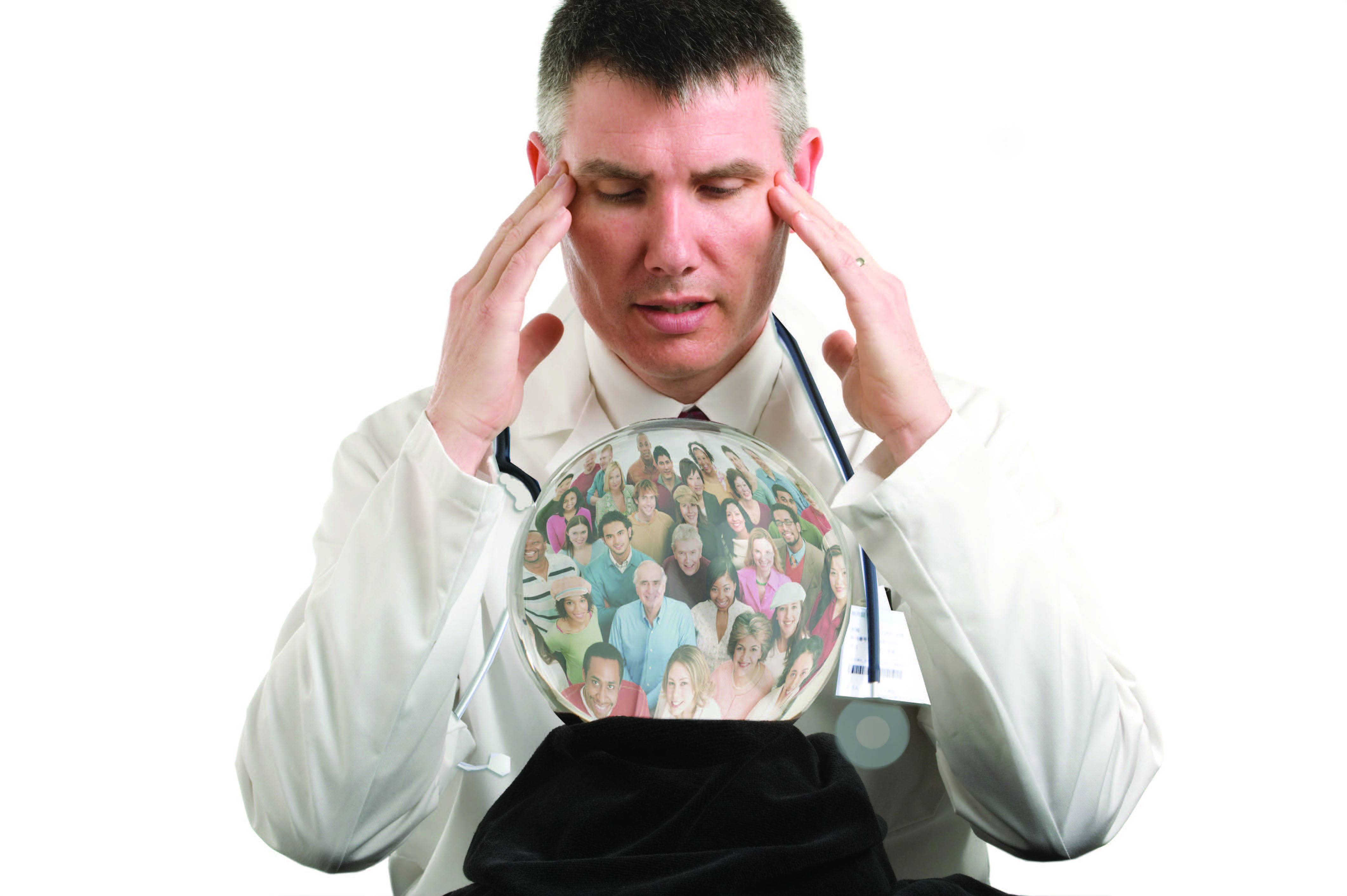 doctor looking into a crystal ball filled with people