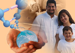 dna rising from globe in hands with a family and baby in background