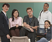 teacher with college students