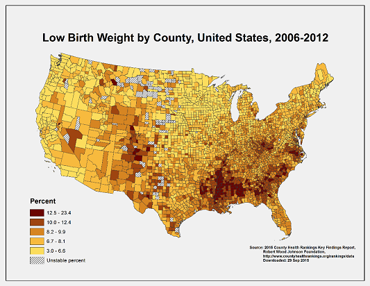 A map on low birth weight from the Division of Reproductive Health.