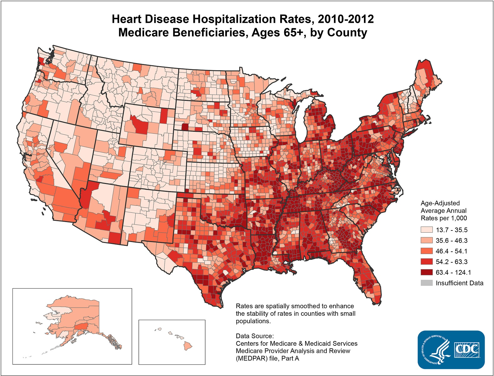 Map Details Heart Disease Hospitalization Rates - West virginia county map