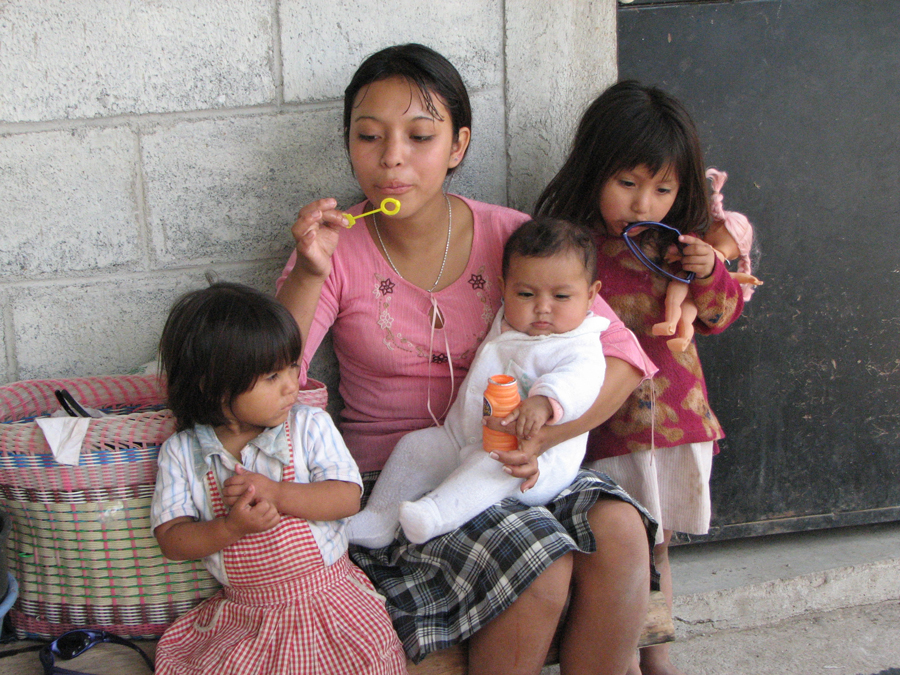 Young mother with children
