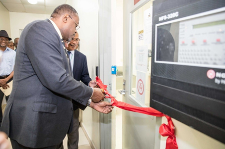 Director General of the Ministry of Health, Dr. Laure Adrien; Director of the National Public Health Laboratory, Dr. Jacques Boncy; and former Acting Deputy Chief of Mission of the U.S. Embassy, Robert Hannan, cut the ribbon to officially commemorate the opening of the BSL-3 lab. December 2017.