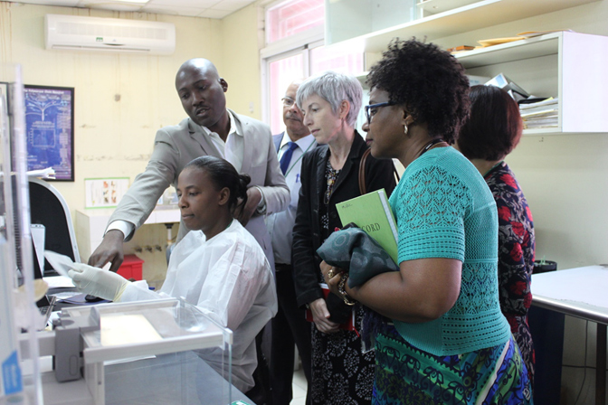 Division of Global Health Protection, Director, Dr. Nancy Knight, tours the Haitian National Public Health Laboratory – CDC's key partner in expanding laboratory testing capacity in Haiti. August 2018.