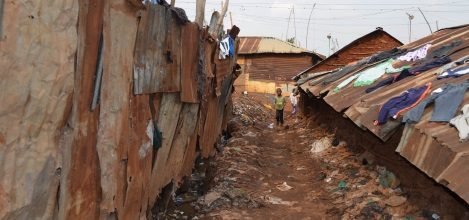 Kibera slums on the outskirts of Nairobi, Kenya