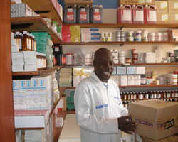 Fredrick Ochenge in the Tabitha clinic pharmacy