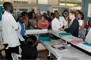 Dr. Frieden discussed ways to reduce mother-to-child HIV transmission and maternal mortality with staff in rural Kenya.