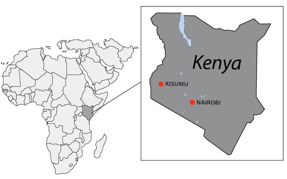 Map of Africa highlighting Kenya: CDC-Kenya provides programmatic oversight and leadership from office locations in Nairobi and Kisumu.