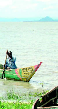 Photo of a man fishing on Lake Victoria near Kisumu