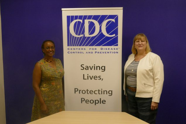 Dr. Rebecca Martin, Director of CDC's Center for Global Health, poses for a photo with Dr Christina Mwangi,