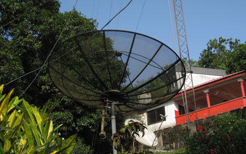 BBC Media Action programming is distributed through multiple radio stations throughout Sierra Leone by satellite uplinks including this one at Cotton Tree Radio stations.  CDC-Foundation paid for the repair of sattelites for this network of radios reaching all districts in Sierra Leone